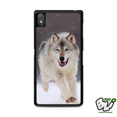 Wolf Run On White Snow Sony Experia Z3,Z4,Z5,C3,C4,E4,M4,T3 Case,Sony Z3,Z4,Z5 MINI Compact Case