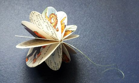 Katy Stoddard shows us how to make a paper bauble - perhaps poetry lovers can substitute in pages of a poetry magazine?