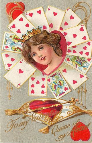 Vintage PC Fortune Valentine Series Queen of Hearts Girl in Crown Playing Cards