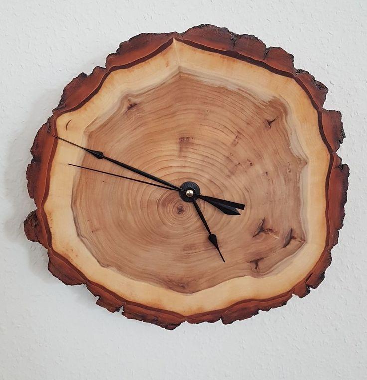 Holz Wanduhr Baumscheibe Pappel Massiv Handarbeit Unikat Schne Maserung In Uhren Schmuck Weitere