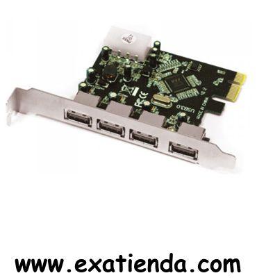 Ya disponible Control. Approx 4 ptos USB 3.0 PCIEX    (por sólo 27.99 € IVA incluído):   - Especificaciones técnicas - Chipset VIA 801 - Compatible con USB 2.0 EHCI y OHCI USB 1.1. - USB 3.0 interfaz (10 veces más rápido USB 2.0) - Soporta 4 puertos USB 3.0 Tipo A - Compatible con PCI-Express Revisión 1.0a - Compatible con dispositivos USB 2.0 y USB 1.1 - Velocidad de transferencia hasta 5Gbps - Plug and Play - Soporta Hot-Swap  - P/N:APPPCIE4P Garantía de 24 meses.
