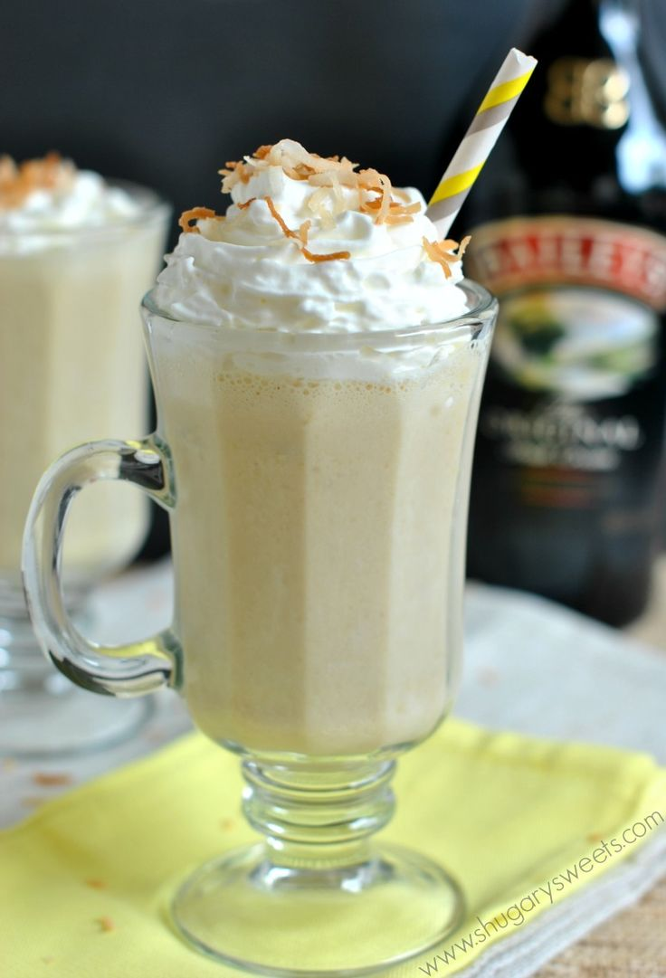 BBC Drink  1 large banana  1/2 cup ice  1/2 cup cream of coconut  2oz BAILEYS Irish Cream  toasted coconut, for garnish, optional  whipped cream, for garnish, optional