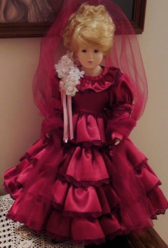 17-034-LADY-ANNABELLE-VICTORIAN-PORCELAIN-DOLL-BURGUNDY-SATIN-DRESS-IMMACULATE