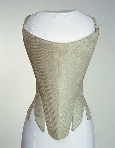 1740-1760, Pale blue glazed woollen damask over stiff foundation, lined with white linen. Bound with pale blue twilled wool. Curved front section tapering from side back to blunt point at waist, with curved whalebone at top edge. Narrow high back, boned and fastening centre back with fourteen worked holes for lacing. Four tabs placed over each hip. Shoulder straps. Narrow chequered white silk ribbon covering boned seams down centre front and each side.