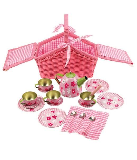 CESTA JUEGO DE TÉ. Encantadora canastita con su juego de té con un dulce diseño en rosa y florecitas,totalmente equipado para sus picnics en el jardín, o llevar de paseo. Incluye una tetera, tazas, platitos, platos, cucharas y servilletas.  REBAJAS en todos nuestros Juguetes en General. 30% de Descuento