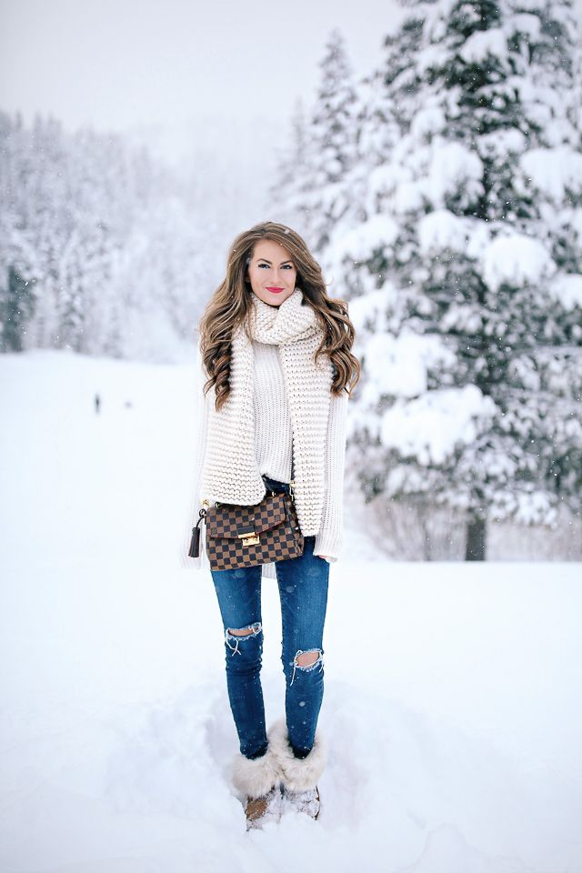 Trouve white turtleneck // Goodnight Macaroon chunky scarf   AG jeans // Louis Vuitton crossbody  faux fur UGG boots  // C...