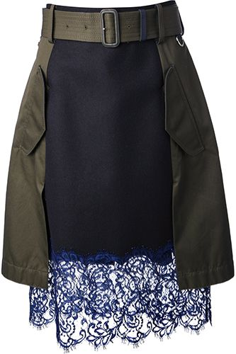 Oh SNAP! Sacai Lace Trim Skirt #refinery29 http://www.refinery29.com/2014-fashion-labels#slide23
