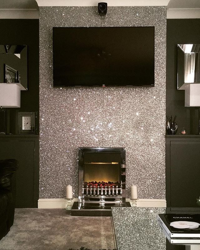 15 wall covering ideas to fall in love with home sweet home glitter wallpaper bedroom - Glitter wallpaper ideas ...