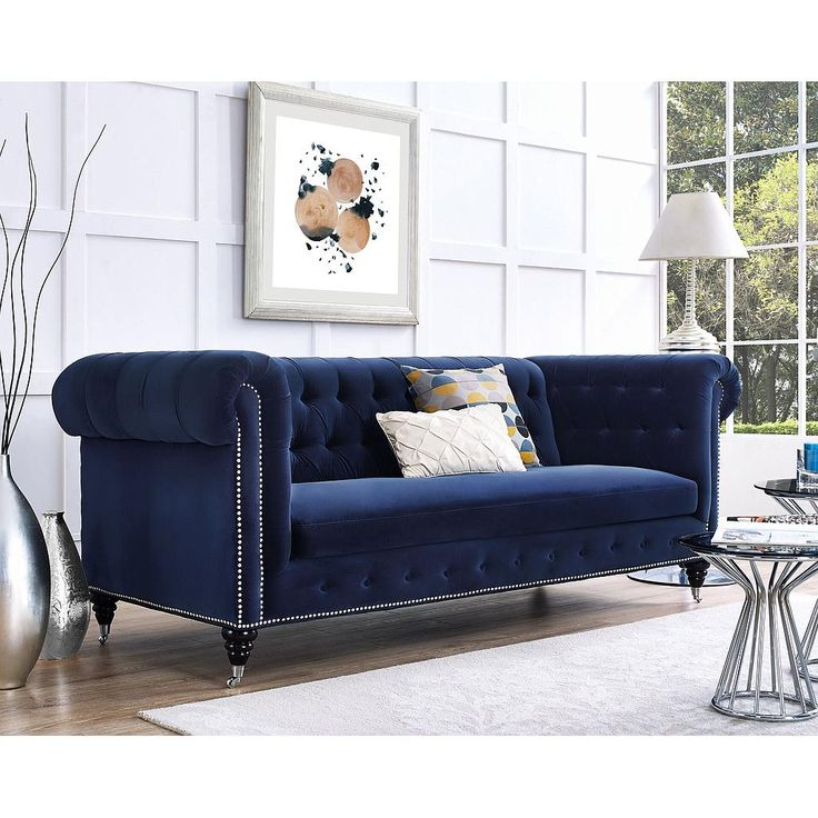 Hanny Navy Blue Velvet Sofa