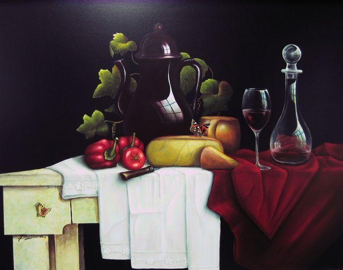 Stilleven met Paprika en Kaas geschilderd door Steef Bongers