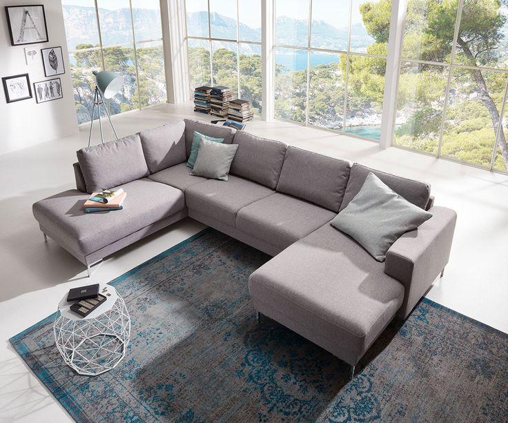 Designer-Wohnlandschaft Silas 300x200 Grau Ottomane Links Möbel Sofas Wohnlandschaften