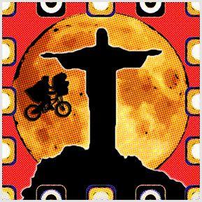 ET no Cristo - Quadrinhos confeccionados em Azulejo no tamanho 15x15 cm.Tem um ganchinho no verso para fixar na parede. Inspirado em cenas de cinema. Para entrar em contato conosco, acesse: www.babadocerto.com.br