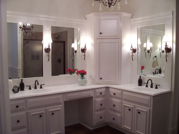 Custom Cabinets Corner Linen Tower Vanity With Split