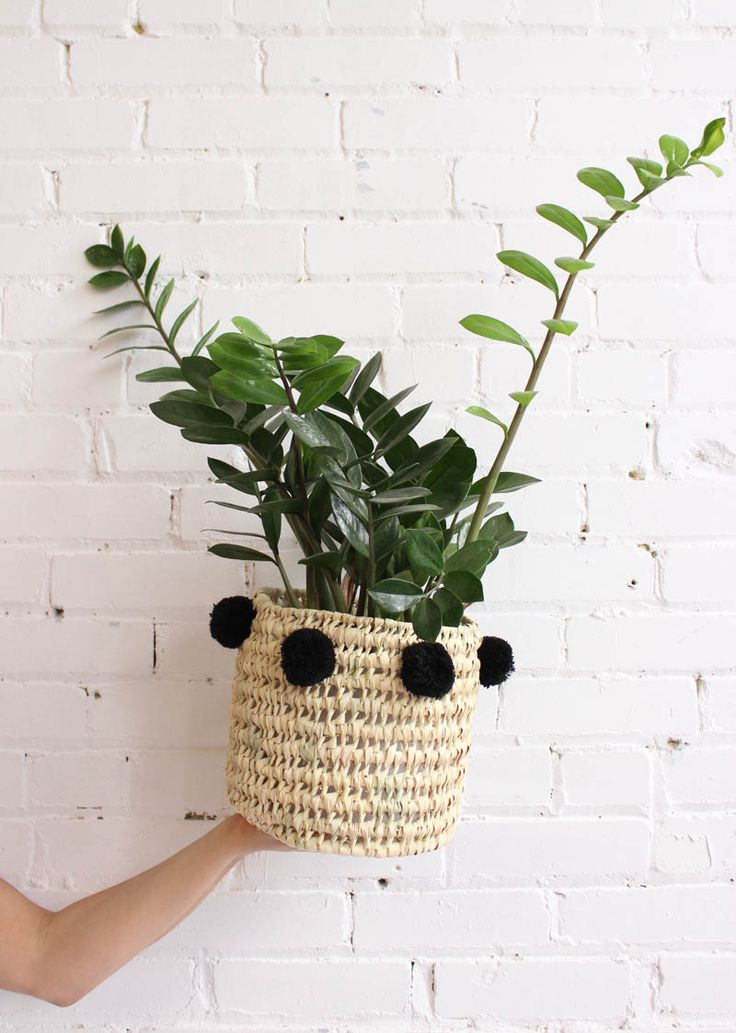 Basket With Pompoms – Wicker Bin, Handmade In Marrakech. From Baba Souk