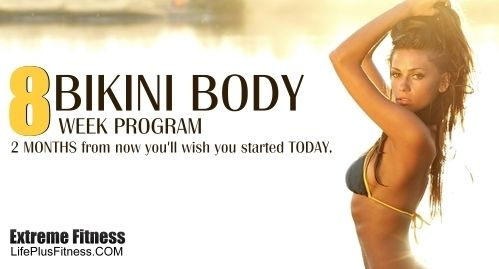 Bikini Body 8 Week Program. There is no gym membership, no extra fees, just you, your goals, and sweat.