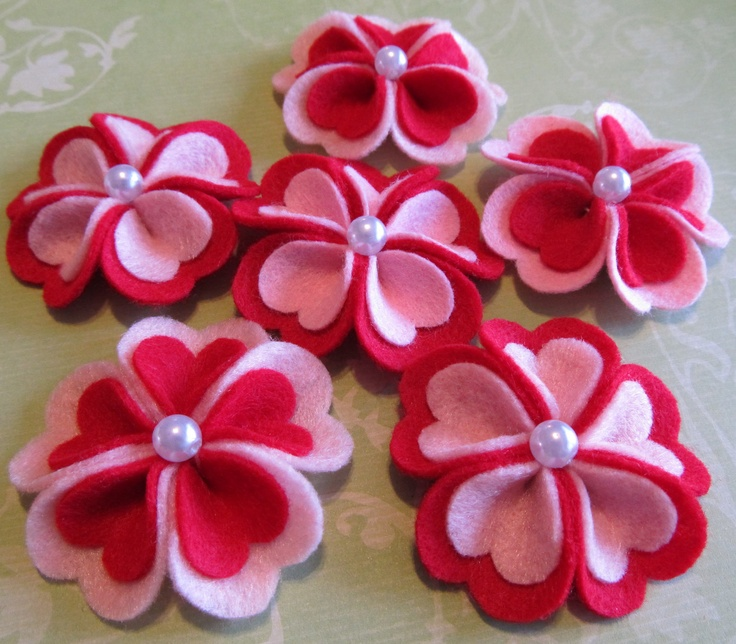 Felt Flowers - Felt Appliques - 6pc. Pink and Red Felt Heart Blooms (The Original) For Valentine Hair Clips - Valentine Crafts. $6.00, via Etsy.