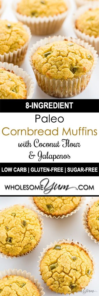 Paleo Cornbread Muffins (Coconut Flour Muffins) with Jalapeños - These low carb, paleo cornbread muffins with jalapeños are a new way to look at coconut flour muffins. So easy and so good, with only 8