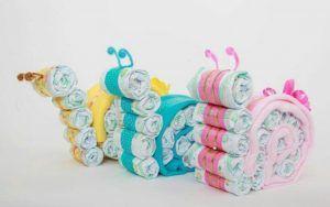 Torta di pannolini a forma di chiocciola, di tutte le dimensioni o colori