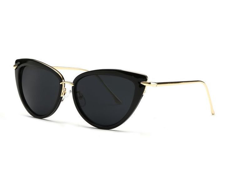 Black and Gold Cat Eye Sunglasses                                                                                                                                                                                 Mais