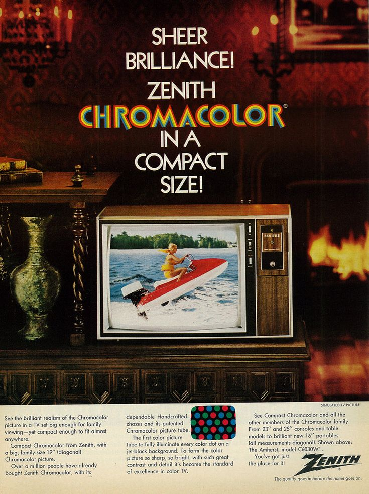 "https://flic.kr/p/CVVAFT | 1972 Ad, Zenith Compact Chromacolor Television, Pretty Blonde Girl Steering Motor Boat | Caption: ""Sheer Brilliance! Zenith Chromacolor in a Compact Size!""  Published in Ebony, March 1972 - Vol 27, No. 5  Fair use/no known copyright. If you use this photo, please provide attribution credit; not for commercial use (see Creative Commons license)."