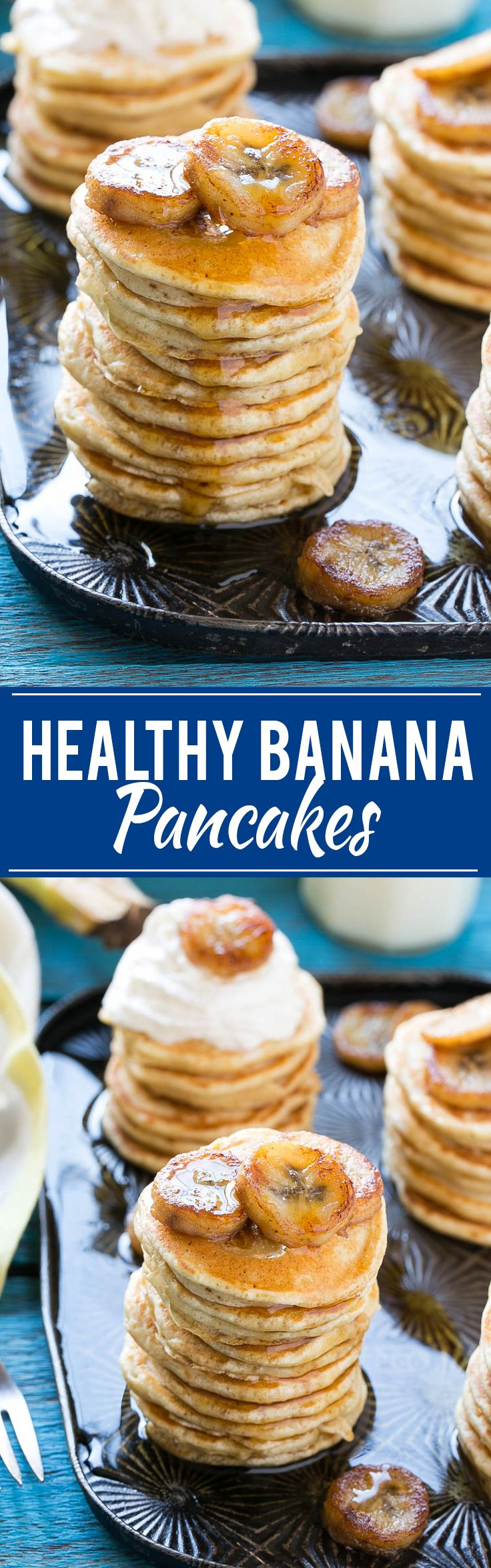 Healthy Banana Pancakes - Made with whole wheat flour and caramelized bananas. They're easy to make and super kid friendly!