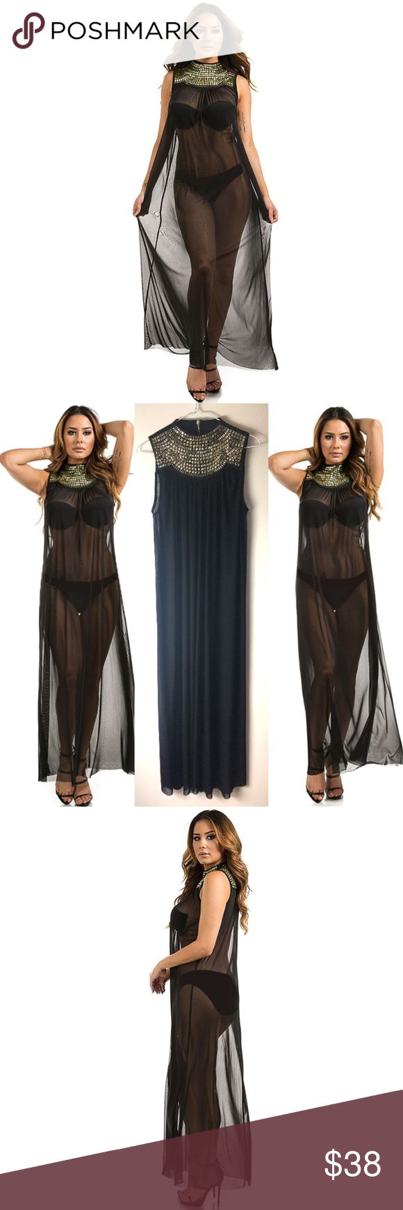 Sexy cleopatra style sheer swim maxi coverup Check out this stunning maxi coverup featuring gold bejeweled neckline. Dress has zipper at back of neck.   Sizes S/M/L  Plus sizes coming soon.   95% poly, 5% spandex Swim Coverups