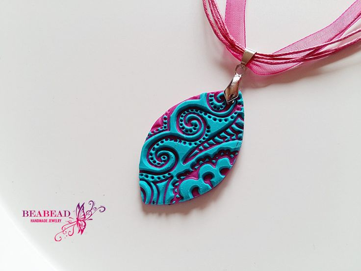Polymer clay pendant, Polymer clay jewelry, polymer clay necklace, handmade jewelry with curlicue pattern by Beabead on Etsy