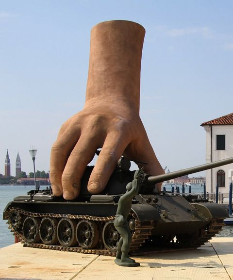 Sculptor Lorenzo Quinn designed this disembodied hands playing with life-size toys for the 54th Venice Biennale (Italy).