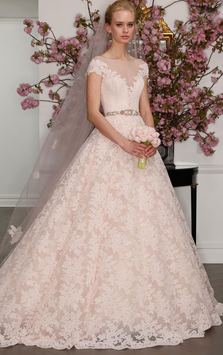 Blush lace gown with cap sleeves and plunging neckline | Legends by Romona Keveza Spring 2017 | https://www.theknot.com/content/legends-by-romona-keveza-wedding-dresses-bridal-fashion-week-spring-2017
