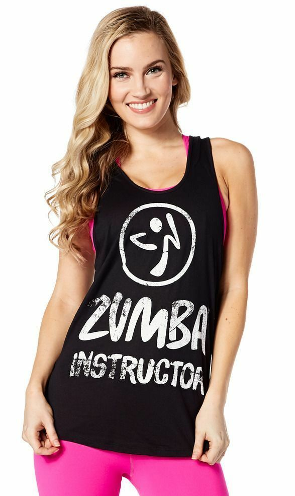 Authentic New Zumba Dance Gypsy Tank Top XL ~ Back to Black ~ NWT