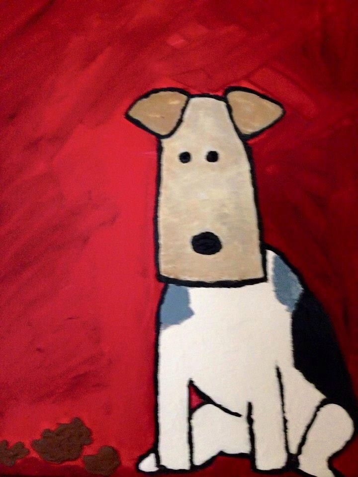 Wire fox terrier art...like this a lot!