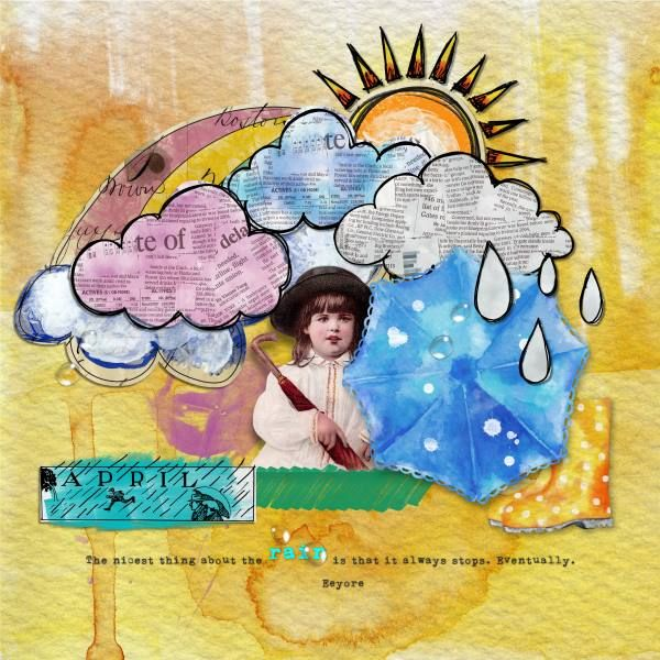 Credits: Mixed Media Monthly main kit- Apr. 16 CALM / PASSING / STORM, Rainy Doodles {Add On} M3 April 2016 by Paula Kesselring and Rainy Mixed Media {Add On} M3 April 2016 by Paula Kesselring.