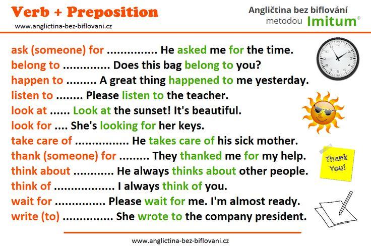 Nevíte, jaká předložka se pojí s daným anglickým slovesem?! Zde nabízíme malou pomůcku...