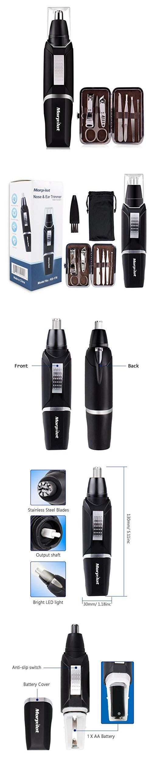 Morpilot Nose Ear Hair Trimmer for Men Water Resistant with LED light High-Speed Rotation Battery-Operated + Manicure Set, Men's Gifts for Christmas.