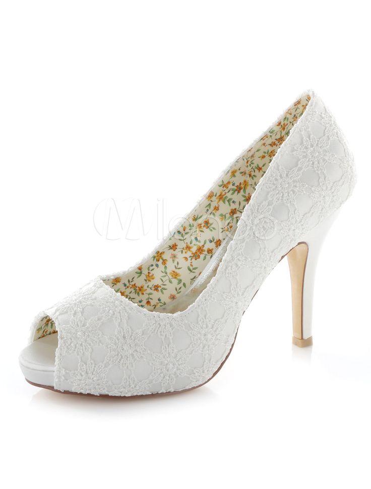 Dentelle blanche plate-forme Peep Toe Pumps Satin de mariée