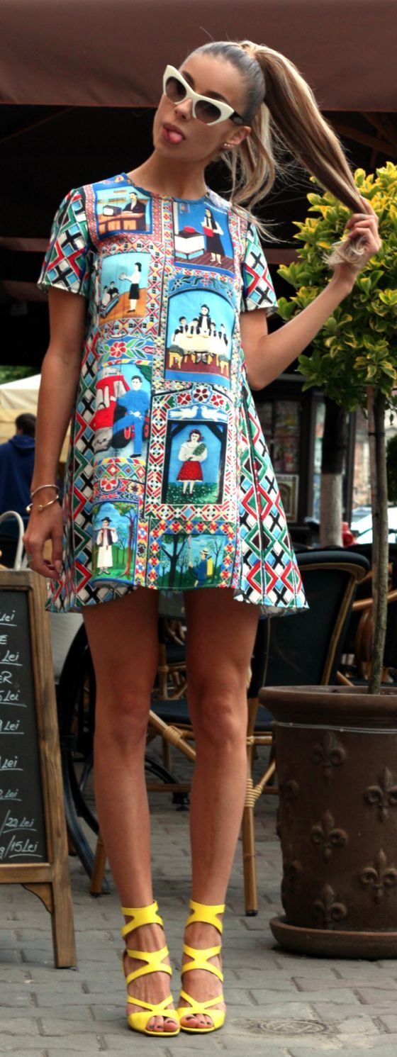 Multicolor Patterned Little Dress