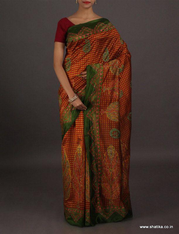 Chetana ine checks with bold motifs kantha work #puresilksaree
