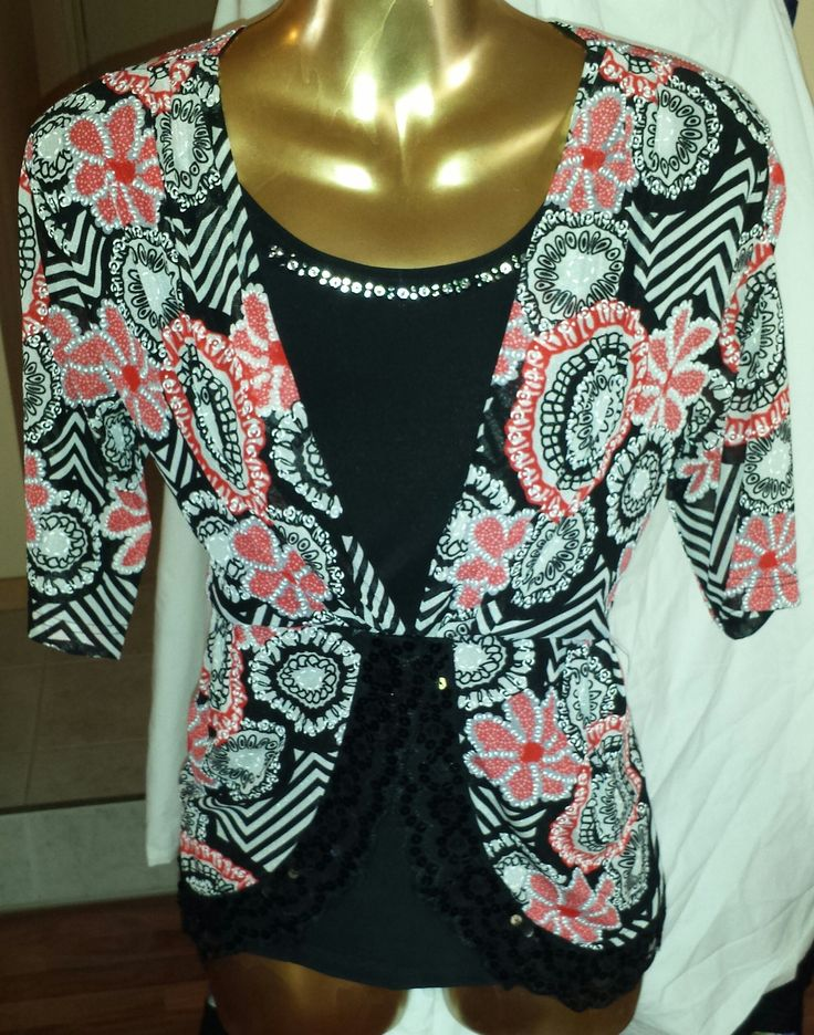 Red, Pink, Black, White Shirt with Lace Trim on Bottom and Diamante Crystals around Neckline
