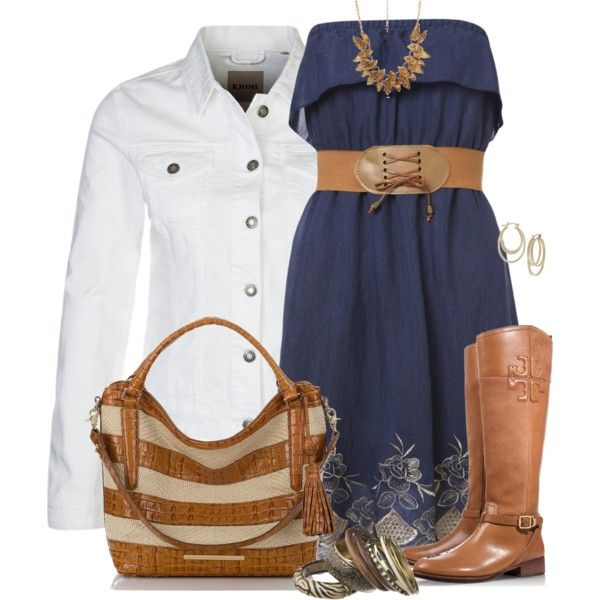 White Denim Jacket and Dress, created by daiscat on Polyvore