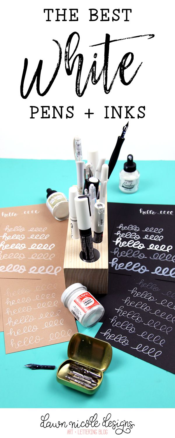 The Best White Pens, Inks, and Markers for Lettering and Calligraphy. I tested a ton so you don't have to! The winners are...