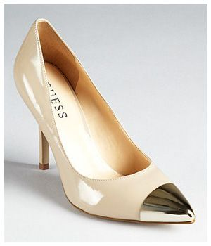 """GUESS """"Myrick"""" Nude Patent Leather pointed-toe stiletto heel Pump with gold toe cap"""