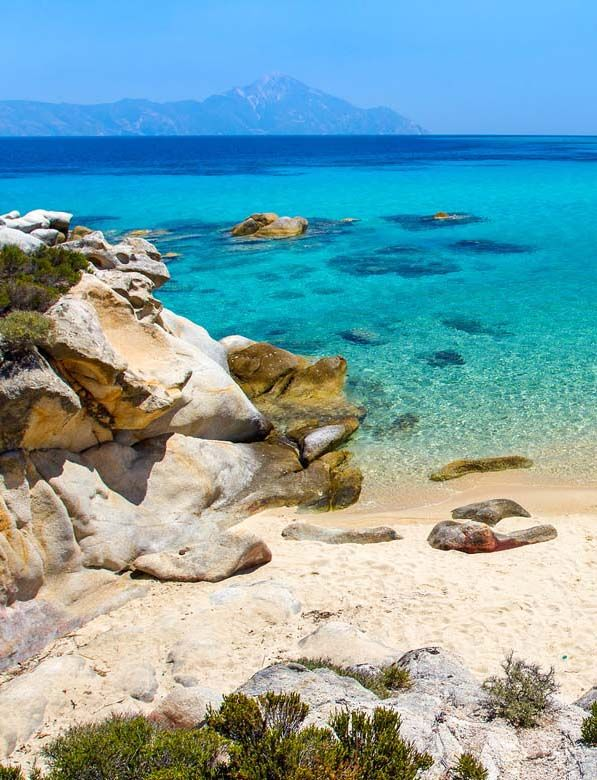 Stunning views over the blue sea from a beach in Halkidiki, Greece