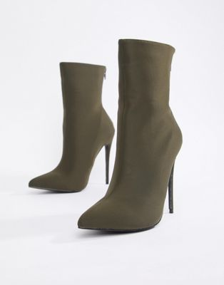 2afdcb938d Boohoo pointed stiletto sock boot in khaki | Honey Look! | Brown ...