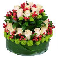 Flower tiered cake - Composition: Rose cream,Hipperikum red,Сhrysanthemum green,Greens,Oasis.