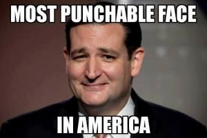 A roundup of humorous memes and captioned photos poking fun at Republican presidential hopeful Ted Cruz.: Most Punchable Face