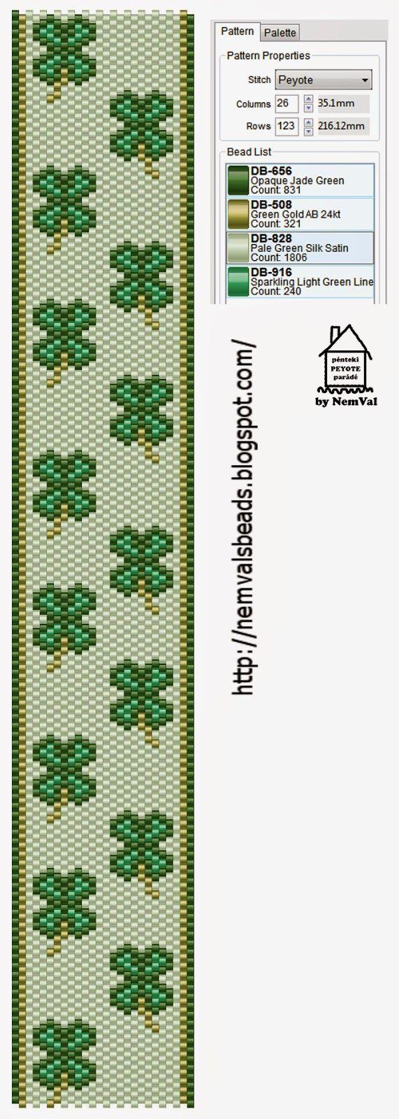 4 Leaf Clover Band Pattern ___ Peyote Stitch ___ NemVal gyöngyei: pénteki PEYOTE parádé