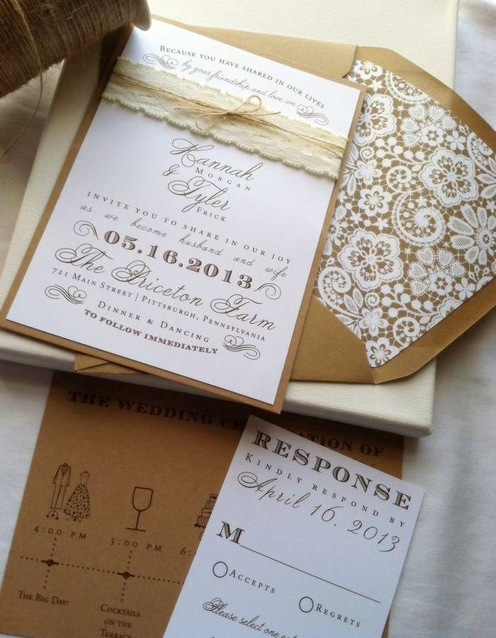 wedding invitations for less than dollar%0A Cards and jute lace and floral print lining