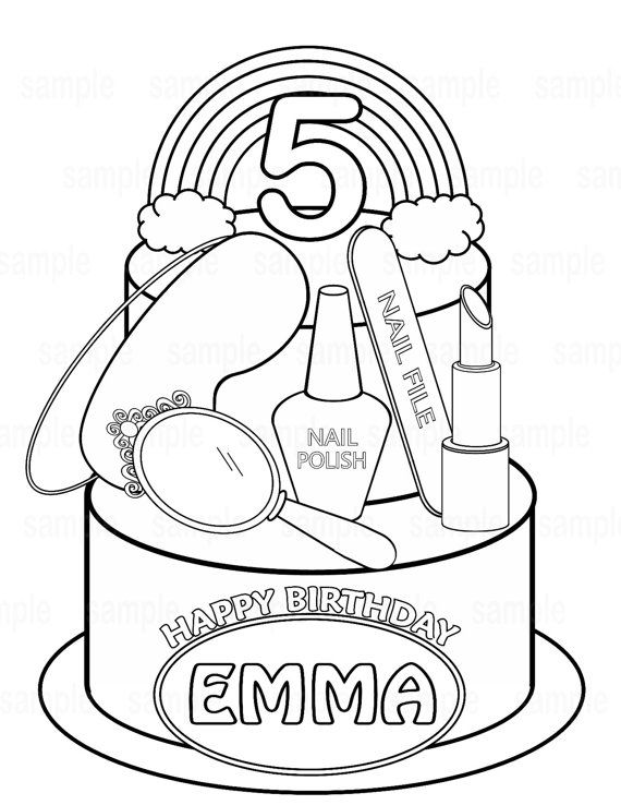 Personalized Printable Spa party coloring page.