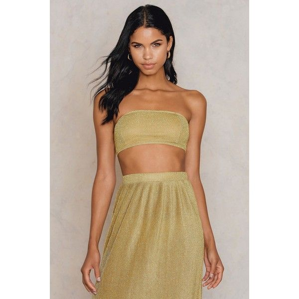 NA-KD Party Sparkle Bandeau Top ($21) ❤ liked on Polyvore featuring tops, gold, sparkly party tops, gold sparkly top, night out tops, bandeau bikini tops and sparkly bandeau top