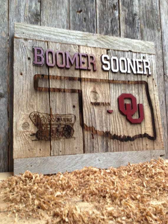 OKlahoma Sooner State Cutout 12 x 17 approx. Item by LaserZStudio